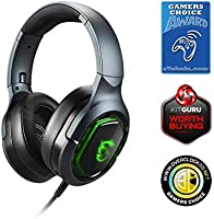 MSI IMMERSE GH50 7.1 Virtual Surround Sound RGB Gaming Headset Black with Ambient MSI Dragon Logo 40mm Drivers inline audio controller detachable Mic RGB Mystic Light S37-0400020-SV1 USB