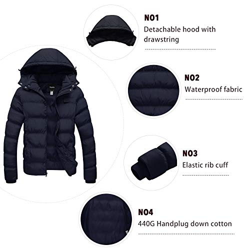 2aa39da69 Wantdo Men's Winter Thicken Cotton Coat Puffer Jacket with Removable Hood,  Navy, Medium