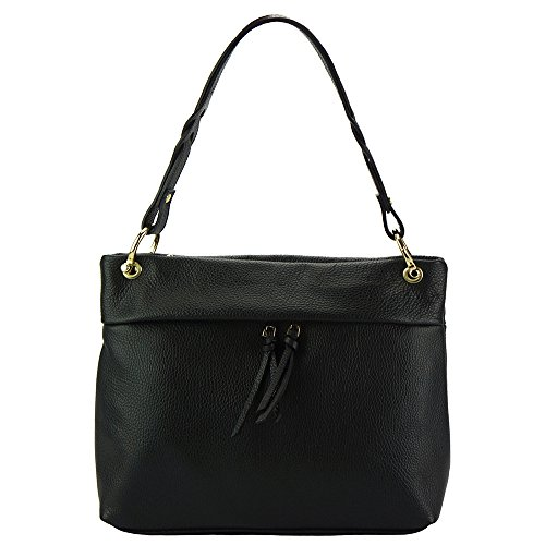 SHOULDER BAG MAFALDA WITH HIGH QUALITY LEATHER 9120 Black