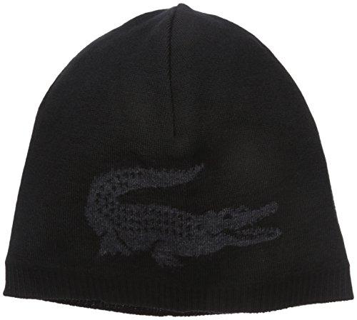 Lacoste Men's Big Crocodile Jacquard Reversible Wool Beanie, Black/Carthusian Chine, One - Hats Beanie Lacoste