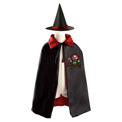 Circus Acrobat Halloween Costume (Circus people Children Wizard Witch Reversible Cape With Hat Kids Halloween Party Costume)