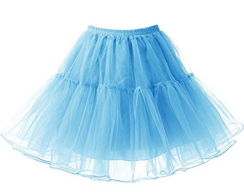 Sottoveste Retro Blue 50s Vintage Sottogonna Rete Donna Bridesmay Tutu Breve Gonne xFawtfBw