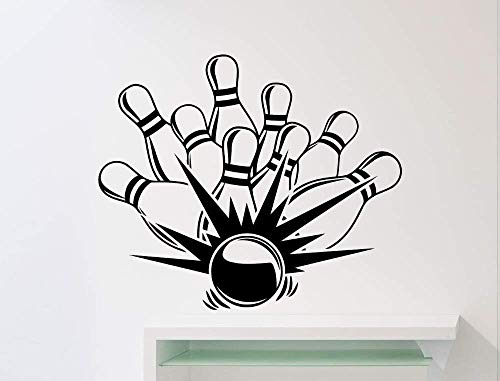 3D Wall Sticker Art Sticker Applique Mural 57 68Cm Bowling Game Strike Pattern Wall Sticker Sport Bowling Ball Club Wall Mural Decal Vinyl Wall Poster Home Room Special Decor