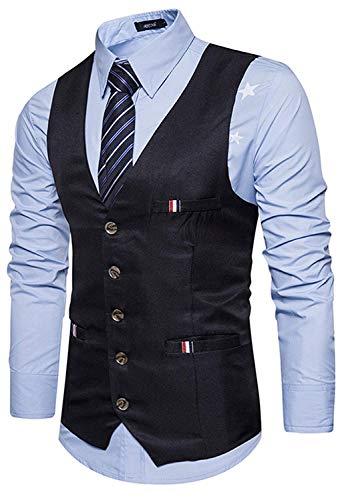 Giovane Materiale Gilet Sottile Vestitino In black Fit 2 Contrasto Uomo Sposa Con Da Slim Testurizzato Realizzato Yasminey vYdXqWq