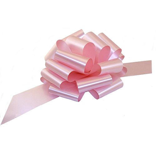 "Large Rose Petal Pink Ribbon Pull Bows - 9"" Wide, Set of 6, Breast Cancer Awareness Ribbons"