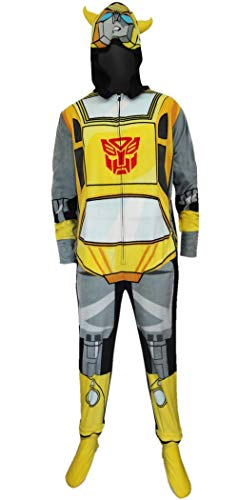(Transformers Bumblebee Adult One-Piece Hooded Pajama, Yellow,)