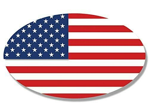 - MAGNET 3x5 inch Oval American Flag Sticker Bright red White and Blue us USA Magnetic vinyl bumper sticker sticks to any metal fridge, car, signs