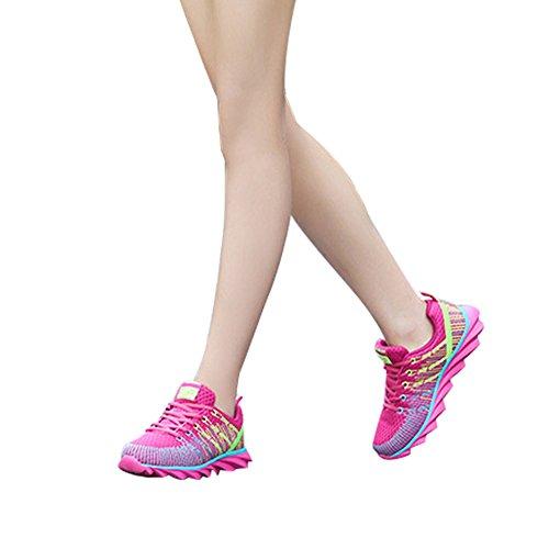 Roi Et La Reine Wingfooted Baskets Mesh Respirant Chaussures De Sport Résistant À L'usure À La Mode De Tissage De Chaussures Casual Course Pour Hommes, Femmes Rose