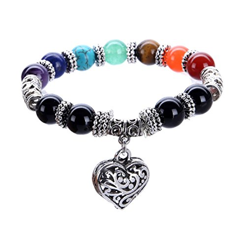 Milakoo 8MM 7 Chakra Healing Balance Stone Beaded Bracelet Yoga Reiki Heart Charm Bracelets