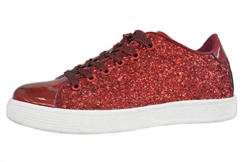 LUCKY STEP Glitter Sneakers Lace up | Fashion Sneakers | Sparkly Shoes for Women (6 B(M) US,Red) -