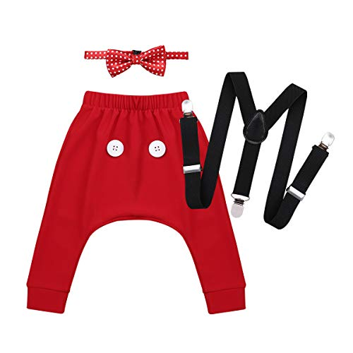 - CHICTRY 3PCS Baby Boys' Birthday Bowtie Outfits Y Back Elastic Clip Adjustable Suspenders Costume Bloomer Pants Clothes Set Red 9-12 Months