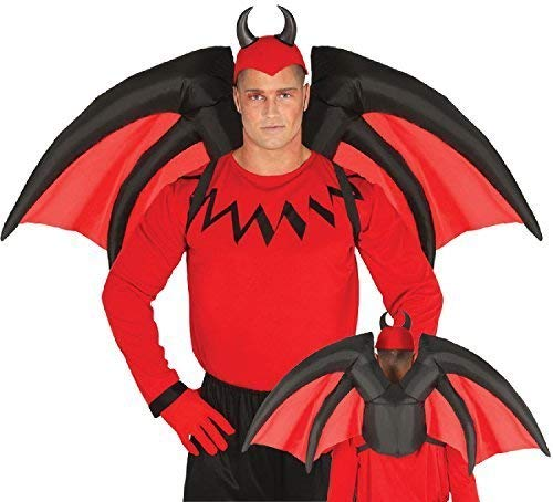 Mens Ladies Red Inflatable Devil Halloween Horror Scary Fancy Dress Costume Outfit Accessory Wings ()