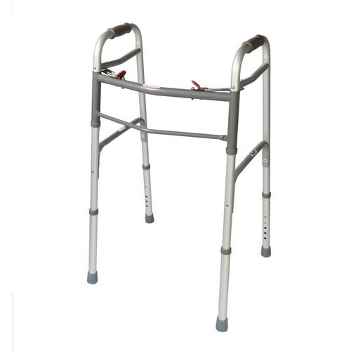 Folding Walker. 2 Button NO/ Wheels. Great For Adults & Seniors. by Fid-Med