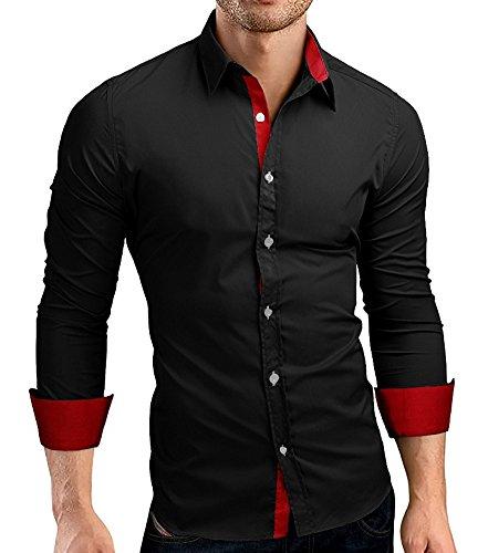 CUSON-Men-Casual-Dress-Shirt-Cotton-Slim-Fit-Long-Sleeve-Button-Down-Solid-Shirt