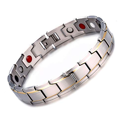 - Rando Mens Womens Magnetic Therapy Health Bracelets Titanium Stainless Steel Silver Plated Clasp Positive Energy Power Elements Germanium Hematite Arthritis Pain Relief Bangles (Silver)