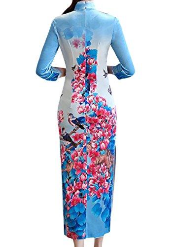Coolred-femmes Se Col Moulantes À Manches Longues Bleu Cheongsam Robe Chinoise