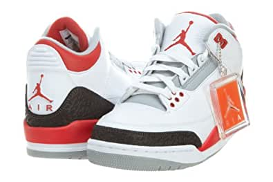 Jordan Mens Retro 3 White/Silver/Black/Fire Red 136064-120 14