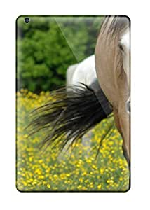 For Ipad Case, High Quality Two Horses Grazing Small Yellow Flowers For Ipad Mini/mini 2 Cover Cases