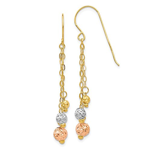 Chain Dangle Bead Earrings (14k Tri-color Gold 3-Strand Bead and Chain Dangle Earrings)