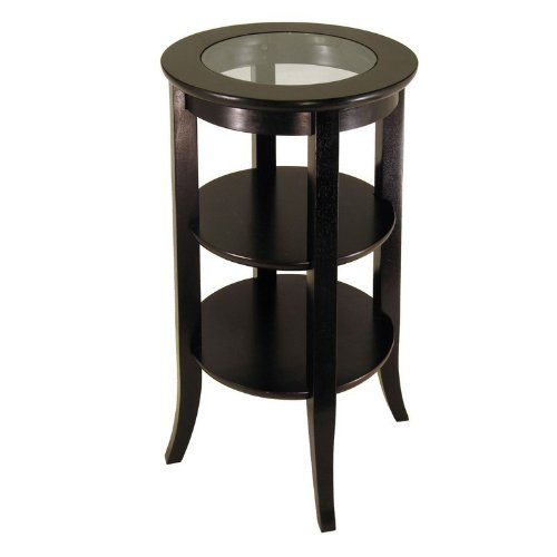 Genoa Accent Table, Inset Glass, two shelves - Round Glass Inset Tall Table