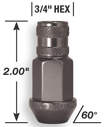 Gorilla Automotive 44028Ti-20 Titanium 12mm x 1.25 Thread Size Aluminum Open End Racing Lug Nut, Pack of 20