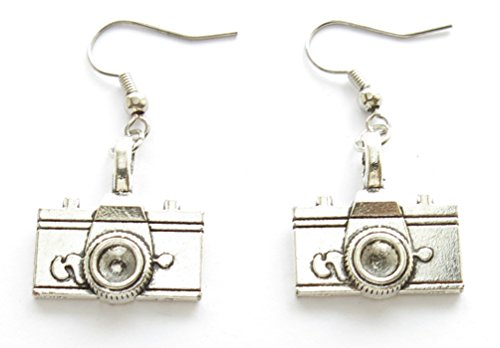 Vintage Silver Camera Earrings Geek Jewelry