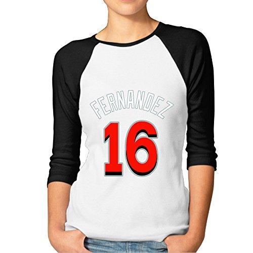 Jose Fernandez Miami Costume 16 Cool 3/4 Sleeve Baseball Graphic Graphic Shirt Women's Black