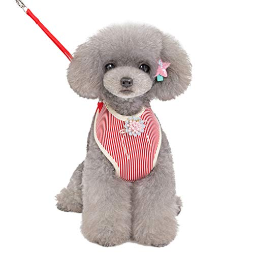 Glumes Dog Safety Vest Harness Breathable Chinese Style Cheongsam Cute Pet Vest Harness Adjustable Puppy Harness Pet Lead Quick Fit for Small Dog Cat Animal