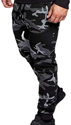 Kankanluck メンズカジュアルレジャードローストリングスポーツコットンジョガーパンツ ポケット付き
