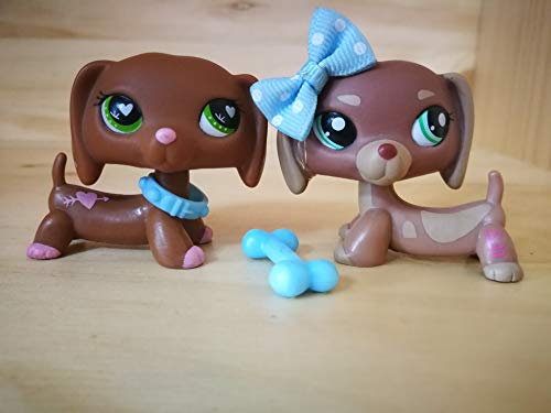 (LPSDOG LPS Dachshund 1751 556 Brown Heart Dog Puppy Cartoon Figures Lot with Accessories Kids Boys Girls Collection)
