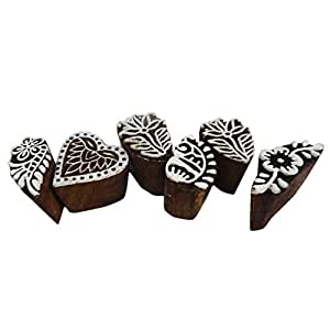 bloque de diseño de impresión tejido decorativo floral indio mano tallada sello textil bloque de impresora de impresión de bloque de madera