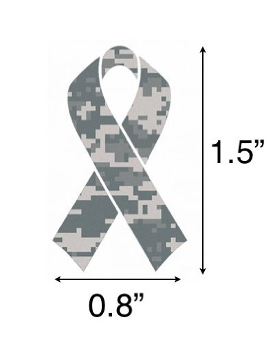 10 Pack - Camouflage Camo Military Ribbon ''Salute To Service'' Helmet Decal Sticker Full Mini Perfect For: Football, Baseball, Hockey, Lacrosse, Bike