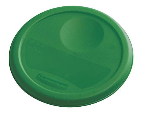 Rubbermaid Commercial Lid (Lid Only) for Round Food Storage Container, Fits 4 Qt. Containers, Green (1980338)