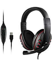 USB Casque Gaming, JAMSWALL USB Casque de Jeu Over Ear Casque PC Gamer avec Microphone pour Sony/Ordinateur portable/PS3/PS4/Xbox/PC Jeux (Noir)