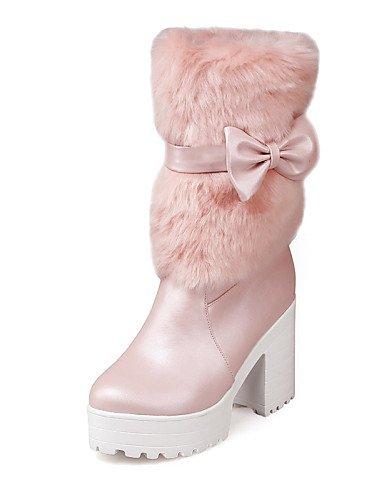 XZZ  Damenschuhe - Stiefel - Kleid     Lässig - Vlies   Kunstleder - Blockabsatz - Rundeschuh   Modische Stiefel - Rosa   Weiß   Beige B01L1GMCFC Sport- & Outdoorschuhe Billig 21caf7