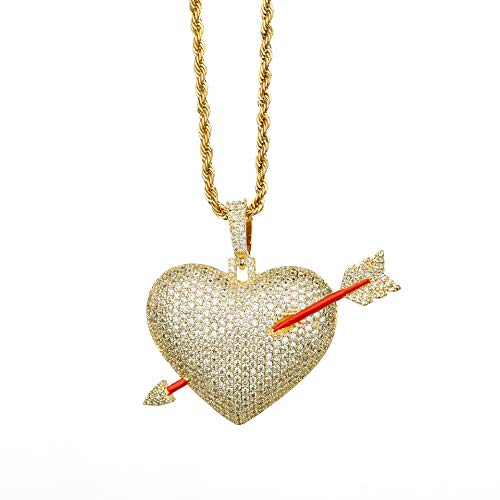 Moca Men Hip Hop Iced Out Bling Cupid's Arrow Love Heart Broken Pendant 18K Gold Plated Chain Couple Necklace (Gold) ()