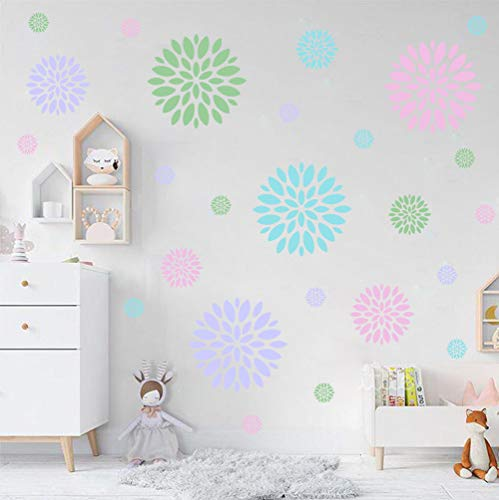 - IARTTOP Blooming Flower Wall Decal, Attractive Fireworks Pattern Sticker for Holiday Decoration, Great Circle Window Cling Decor and Girls Bedroom Decor (28pcs Multicolor Decals)