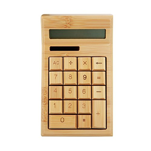 Eco-friendly Handcrafted Nature Bamboo Solar Power Calculator with Solar Panel by Emperor of Gadgets