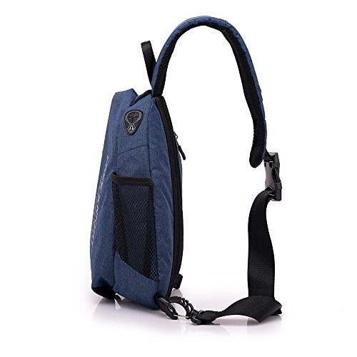 Men Chest Bag Shoulder Bag,Sports Chest Bag Shoulder Sling Backpack Sports Waist Bag with Earphone Hole & USB Charging Hole for Bicycle Sport Hiking Travel Camping Travel Outdoors by Hulorry (Image #7)