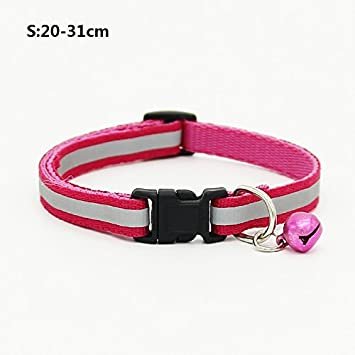 Happy-little-bear Collares Ajustables para Gatos con cuellos para Mascotas de diseño Reflectante Bell Hebilla Blanda de Seguridad para Gatos (Rose Red S): ...
