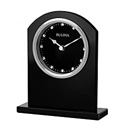 Bulova B5010 Ebony Crystal Polished Silver Bezel Table Clock