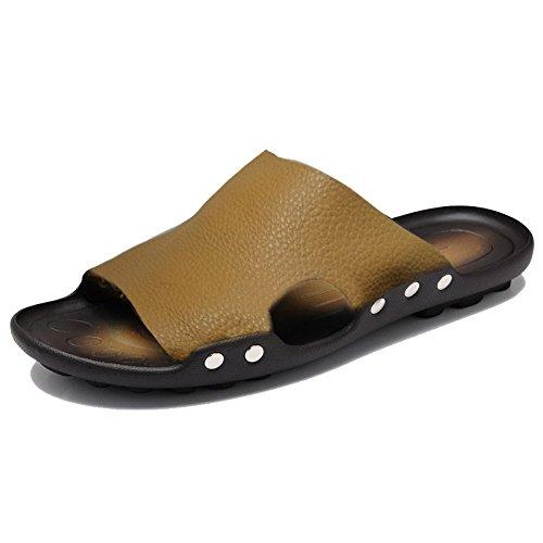 Xing Lin Sandalias De Hombre Prendas De Vestir Para Hombres Zapatillas De Playa En Verano, Sandalias De Cuero Deslizante Chanclas Flip Flop Sandalias De Los Hombres De Verano yellow