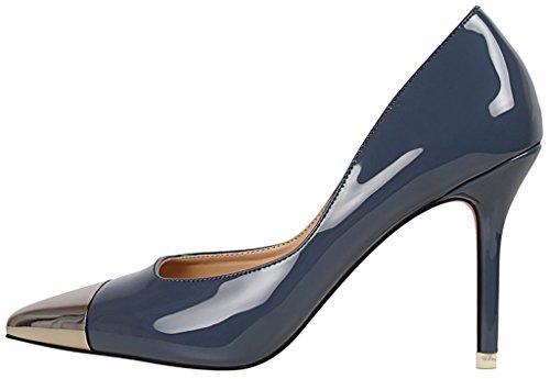 on Blue Pointed Toe Calaier Jtabl Pumps 10CM Slip Womens Stiletto Shoes FqvTvO0n
