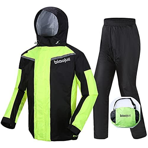 Wasserdicht Motorrad Regenanzug für Männer Frauen Regenanzug mit LED-Licht/reflektierenden Streifen/Schuhschutz…