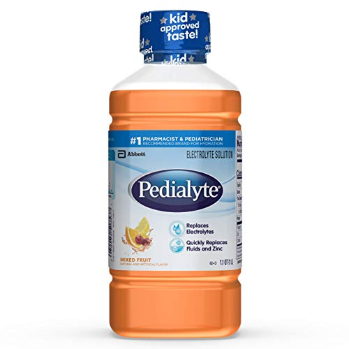 Orange Tropical Fruit - Pedialyte Electrolyte Solution, Hydration Drink, Mixed Fruit, 1 Liter, 8 Count