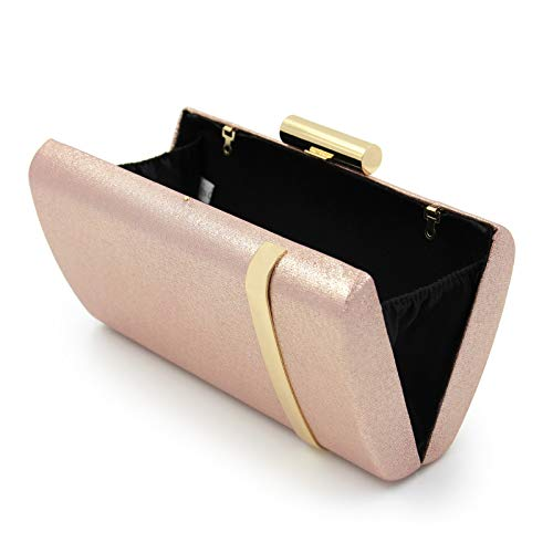 Bright Bag Evening Box Clutch Brown Horizontal Parties Pink Bags Fashion Clubs Iron Wedding for Ladies' Shoulder Single tq4v4