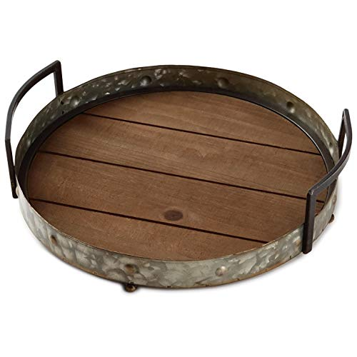 (Galvanized Metal and Wood Tray Kitchen Accessories)