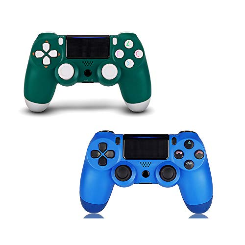 2 Pack Controller for PS4,Wireless Controller for Playstation 4 with Dual Vibration Game Joystick (Green Blue)