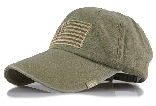 Baseball USA Flag Embroidered Washed Cotton Trucker Distressed Vintage Adjustable Cap (Olive)