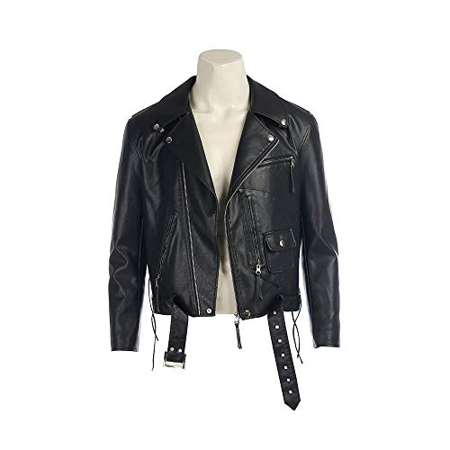 Terminator 2 Judgment Day Arnold Cosplay Costume Leather Coat Custom Made Fation Black